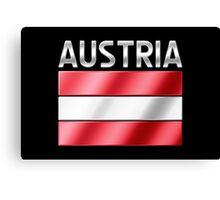 Austria - Austrian Flag & Text - Metallic Canvas Print