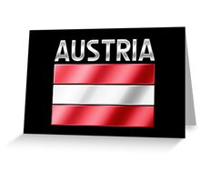 Austria - Austrian Flag & Text - Metallic Greeting Card