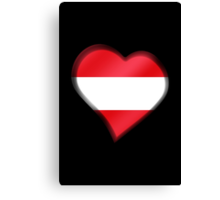 Austrian Flag - Austria - Heart Canvas Print