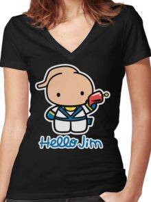 Hello Jim Women's Fitted V-Neck T-Shirt