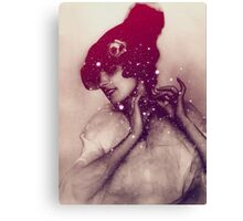 Girl tied the hat Canvas Print