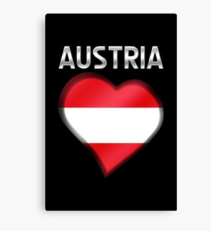 Austria - Austrian Flag Heart & Text - Metallic Canvas Print