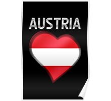 Austria - Austrian Flag Heart & Text - Metallic Poster