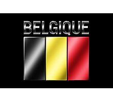 Belgique - Belgian Flag & Text - Metallic Photographic Print