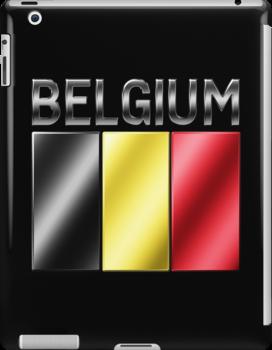 Belgium - Belgian Flag & Text - Metallic by graphix
