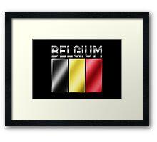 Belgium - Belgian Flag & Text - Metallic Framed Print