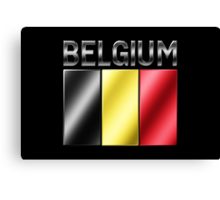 Belgium - Belgian Flag & Text - Metallic Canvas Print
