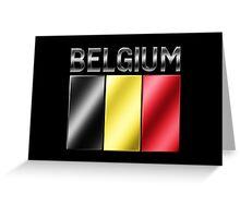 Belgium - Belgian Flag & Text - Metallic Greeting Card