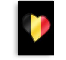 Belgian Flag - Belgium - Heart Canvas Print