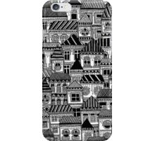 Black and White Busy Body Houses iPhone Case/Skin