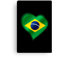 Brazilian Flag - Brazil - Heart Canvas Print
