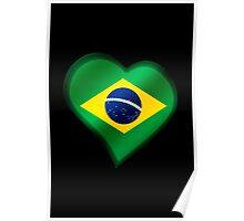 Brazilian Flag - Brazil - Heart Poster