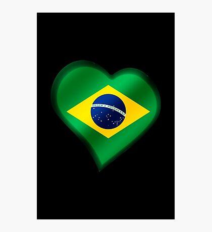 Brazilian Flag - Brazil - Heart Photographic Print