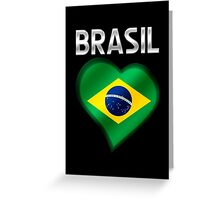 Brasil - Brazilian Flag Heart & Text - Metallic Greeting Card