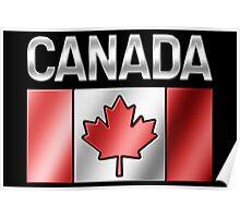 Canada - Canadian Flag & Text - Metallic Poster