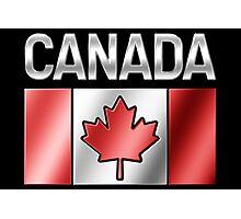 Canada - Canadian Flag & Text - Metallic Photographic Print