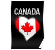 Canada - Canadian Flag Heart & Text - Metallic Poster