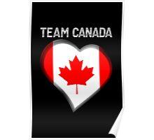 Team Canada - Canadian Flag Heart & Text - Metallic Poster