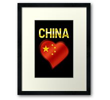 China - Chinese Flag Heart & Text - Metallic Framed Print