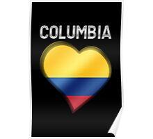 Columbia - Columbian Flag Heart & Text - Metallic Poster