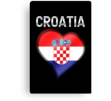 Croatia - Croatian Heart & Text - Metallic Canvas Print