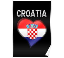 Croatia - Croatian Heart & Text - Metallic Poster