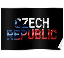 Czech Republic - Czech Flag - Metallic Text Poster