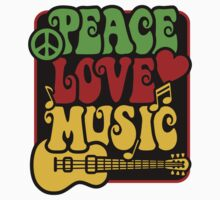 Peace, Love, Music in Rasta Colors Kids Clothes