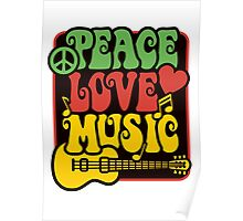 Peace, Love, Music in Rasta Colors Poster