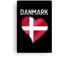 Danmark - Danish Flag Heart & Text - Metallic Canvas Print