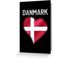 Danmark - Danish Flag Heart & Text - Metallic Greeting Card