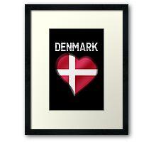 Denmark - Danish Flag Heart & Text - Metallic Framed Print
