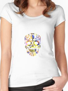 Psychedelic Multi-Color Skull Women's Fitted Scoop T-Shirt