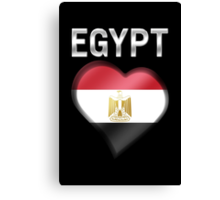 Egypt - Egyptian Flag Heart & Text - Metallic Canvas Print