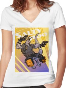 """Salty Roo 2099"" Women's Fitted V-Neck T-Shirt"