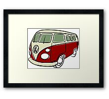 VW Type 2 bus red Framed Print