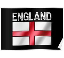 England - English Flag & Text - Metallic Poster