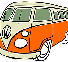 VW Type 2 bus orange by car2oonz