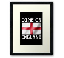 Come On England - English Flag & Text - Metallic Framed Print