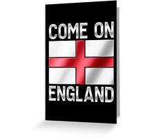 Come On England - English Flag & Text - Metallic Greeting Card