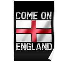 Come On England - English Flag & Text - Metallic Poster
