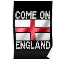 Come On England - English Flag & Text - Metallic Poster