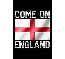 Come On England - English Flag & Text - Metallic Photographic Print