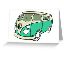 VW Type 2 bus green Greeting Card