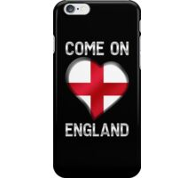 Come On England - English Flag Heart & Text - Metallic iPhone Case/Skin