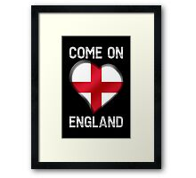 Come On England - English Flag Heart & Text - Metallic Framed Print