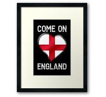 Come On England - English Flag Heart & Text - Metallic Framed Print