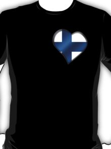 Finnish Flag - Finland - Heart T-Shirt