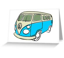 VW Type 2 bus blue Greeting Card