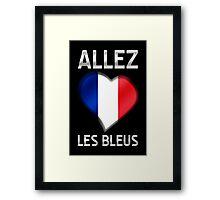 Allez Les Bleus - French Flag Heart & Text - Metallic Framed Print
